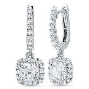 Jewelry - 3.50ct jewelry Cushion and round halo diamond dang